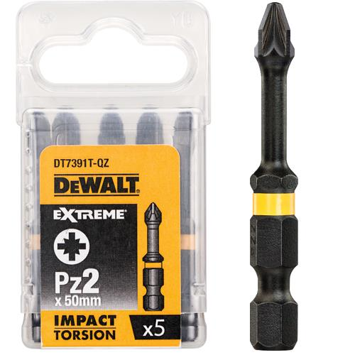 Dewalt Screwdriver bits 50mm Torsion Pz2 5pcs (DT7391T)