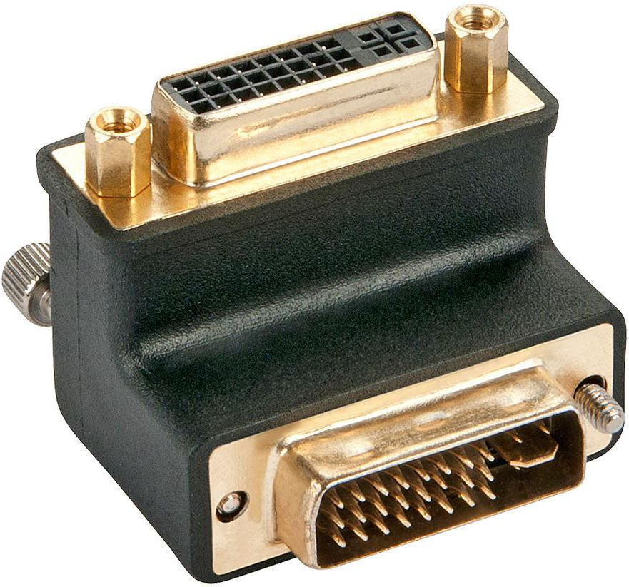 Lindy 90 ° Adapter Down - DVI Adapter - DVI-I (M) - DVI-I (W) - Shaped, Wing Screws (41252) adapteris