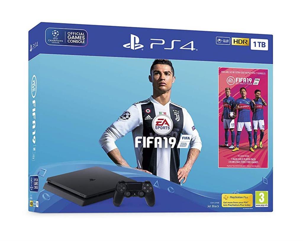 Sony Playstation 4 Slim 1TB + FIFA 19 (remontēts, garantija 3 mēneši) spēļu konsole