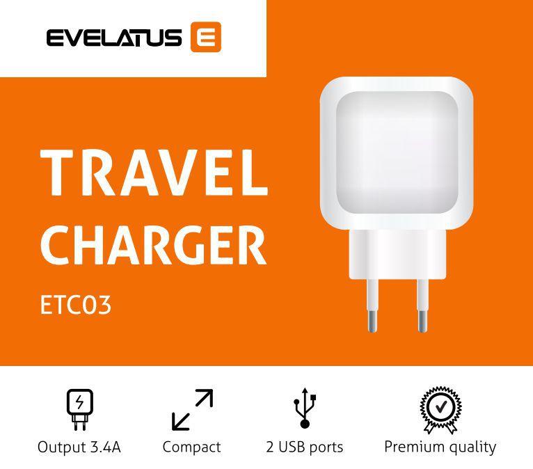 Evelatus Travel Charger Two USB 3.4A ETC03 Black iekārtas lādētājs
