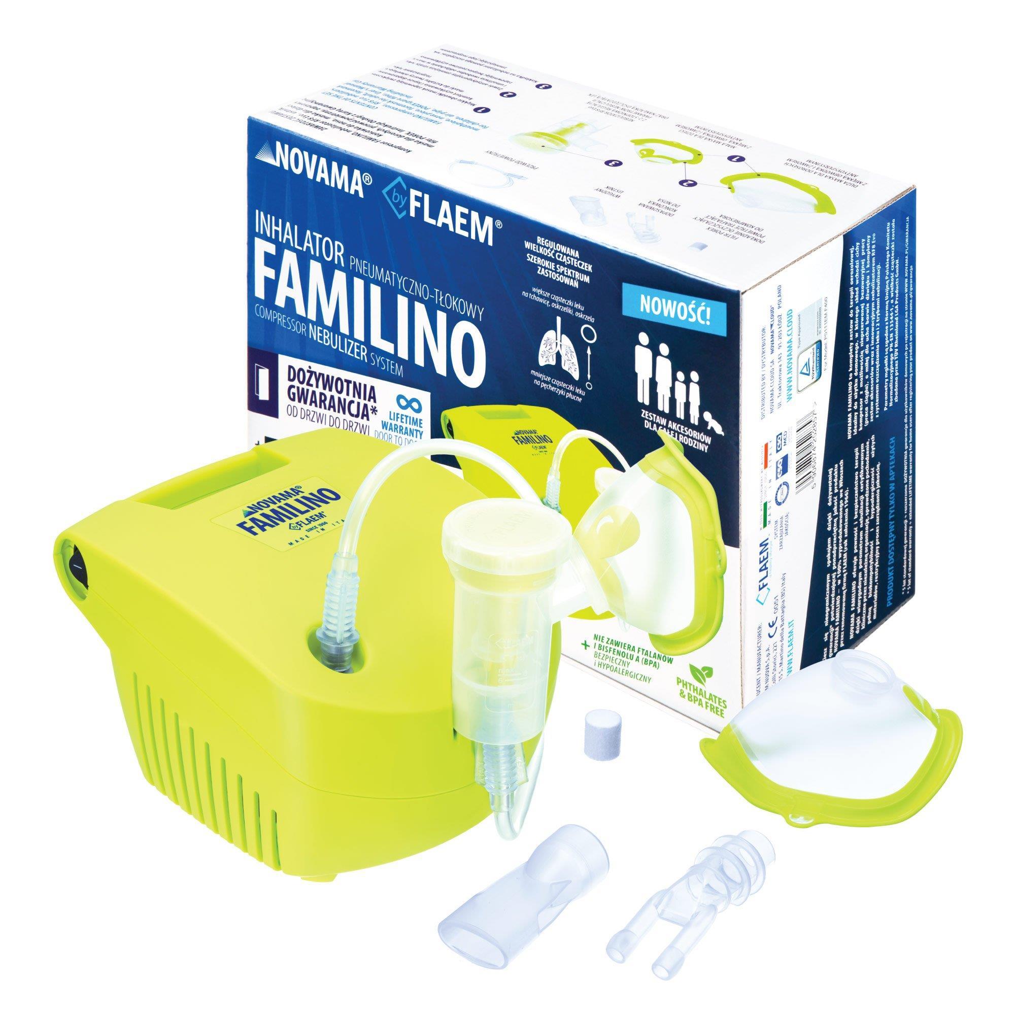 Inhaler pneumatic piston NOVAMA Familino by Flaem (lime color) UISNOMINH0001 inhalators