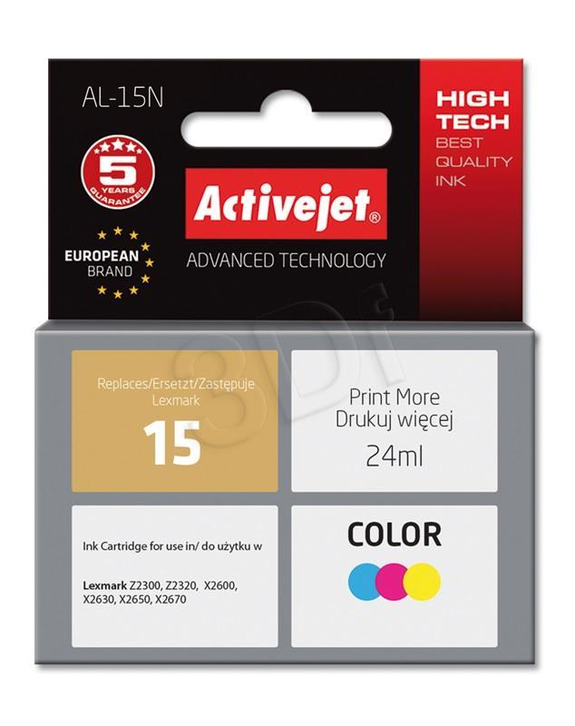 Ink cartridge Activejet AL-15N (replacement Lexmark 15 18C2110E; Supreme; 24 ml; MultiColor) AL-15N