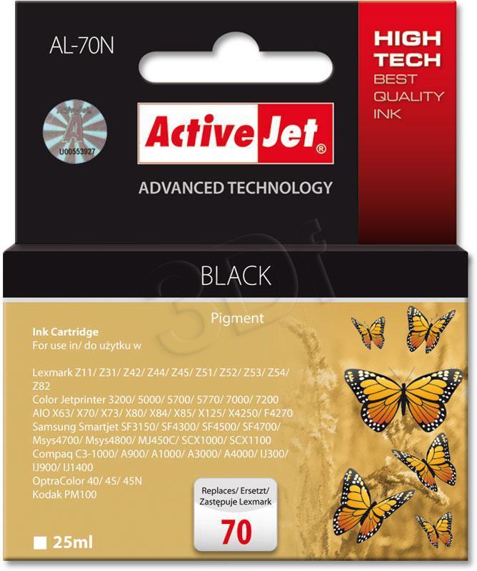 Ink cartridge Activejet AL-70N (replacement Lexmark 70 12A1970; Supreme; 25 ml; black) AL-70N