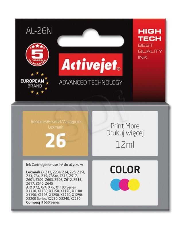 Ink cartridge Activejet AL-26N (replacement Lexmark 26 10N0026; Supreme; 12 ml; MultiColor) AL-26N