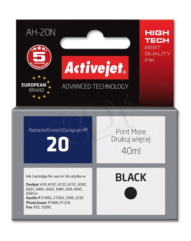 Ink cartridge Activejet AH-20N (replacement HP 20 C6614D; Supreme; 40 ml; black)