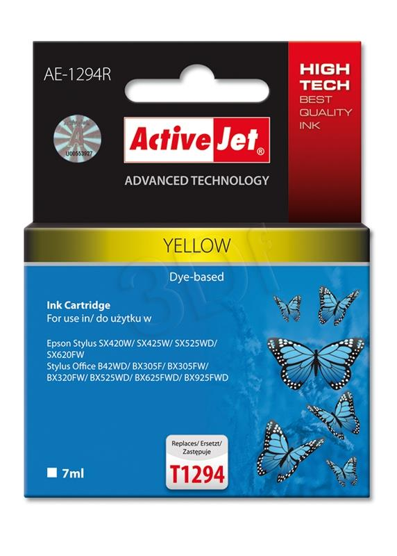 Ink cartridge Activejet AE-1294R (replacement Epson T1294; Premium; 9 ml; yellow) AE-1294R