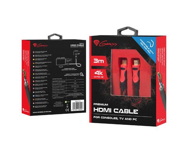 Genesis cable HDMI-HDMI v1.4 High Speed PS3/PS4 3M 4K Premium