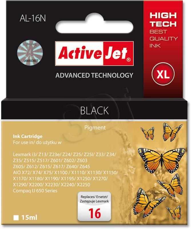 Ink cartridge Activejet AL-16N (replacement Lexmark 16 10N0016; Supreme; 15 ml; black) AL-16N