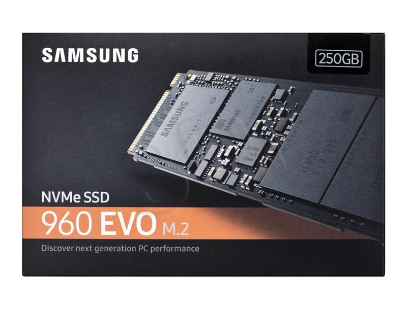 Samsung SSD 960 EVO NVMe M.2 250GB 3200/1500MB/s, V-nand SSD disks