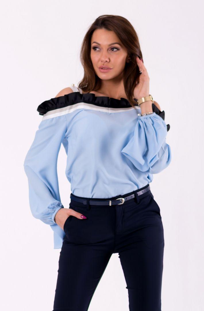 AZAKA Bluzka damska AT3619 niebieska r. S (46031) 807046031117 Blūzes sievietēm