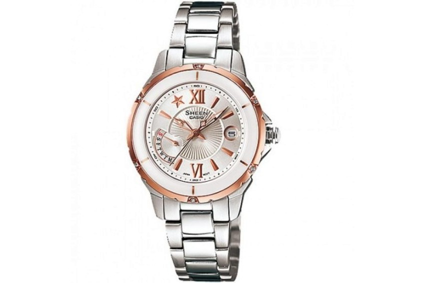 Casio SHE-4505SG-7AEF Sheen Sapphire Crystal 5 Bar Women`s Watch CASIO SHE-4505SG-7AEF Rokas pulksteņi