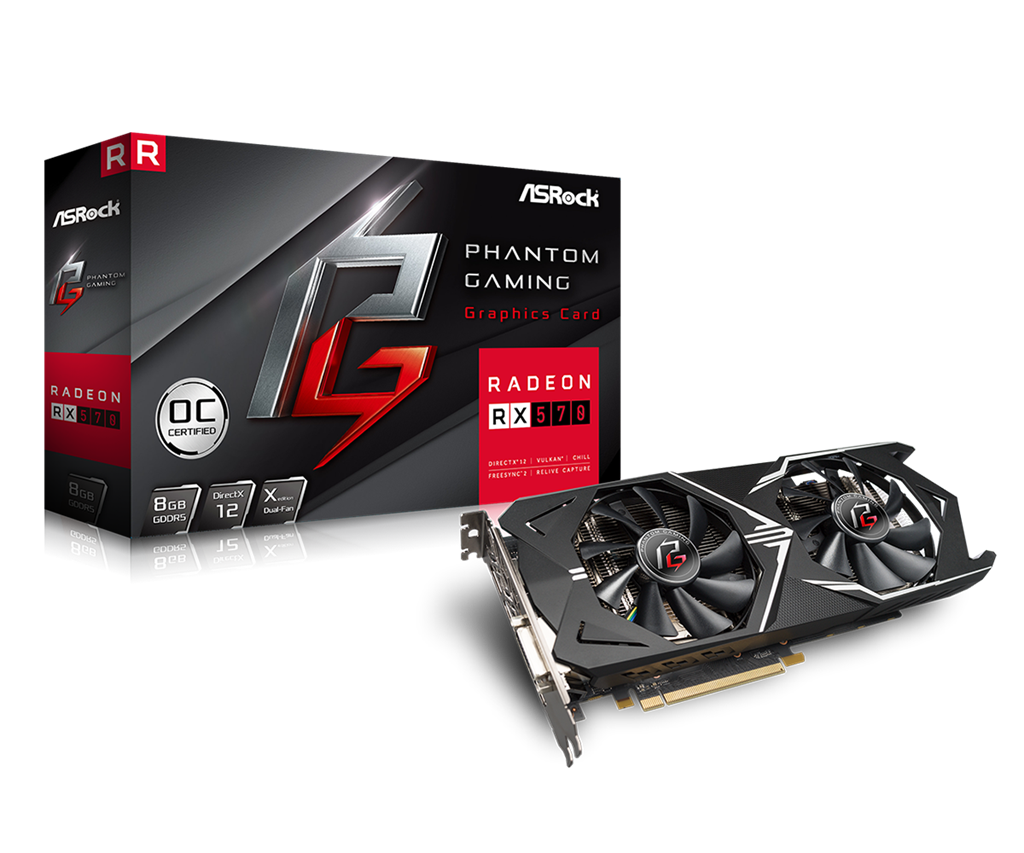 ASRock Radeon RX570 Phantom Gaming 8G OC - 8GB - HDMI DP DVI video karte