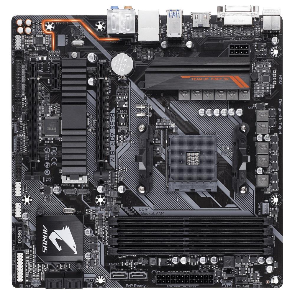 Gigabyte B450 AORUS M (AM4; 4x DDR4 DIMM; Micro ATX; Quad CrossFireX) pamatplate, mātesplate