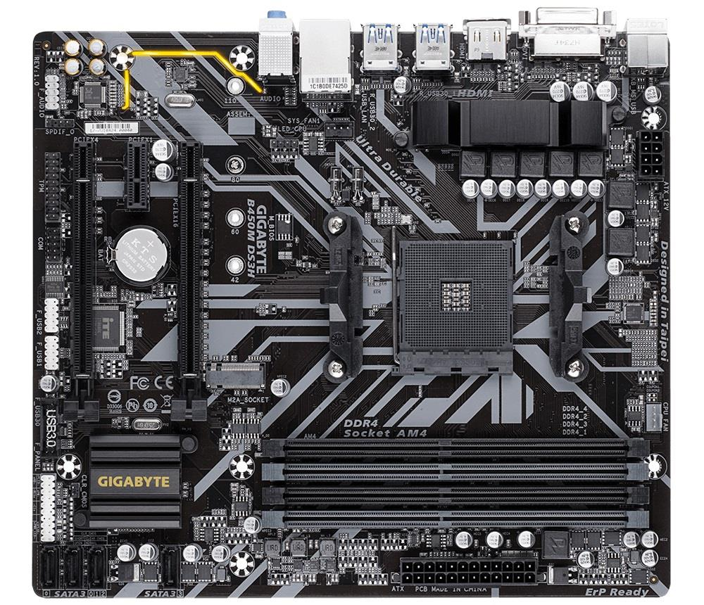 Gigabyte B450M DS3H, AM4, DDR4-3200, USB 3.1, DVI-D/HDMI pamatplate, mātesplate