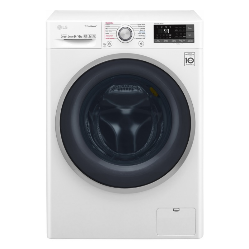 LG with dryer F4J7FH1W Front loading, capacity 9 kg, Drying capacity 6 kg, 1400 RPM, Direct drive, A, Depth 56 cm, W Veļas mašīna