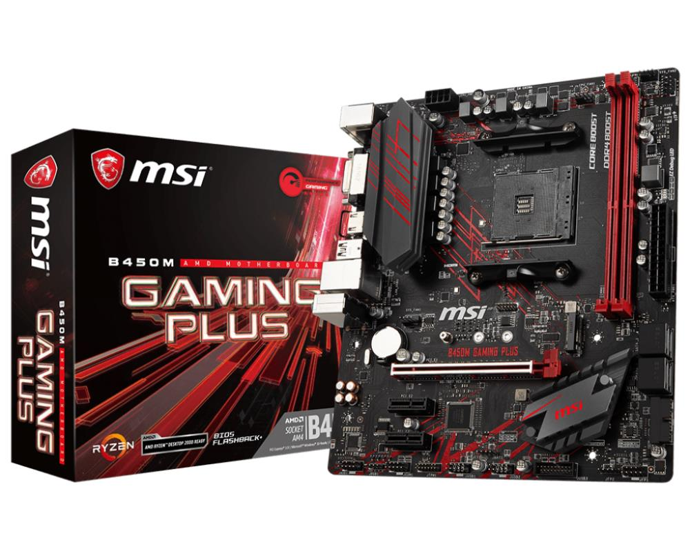 MSI B450M Gaming Plus (B450,AM4,mATX,DDR4,VGA,AMD) pamatplate, mātesplate
