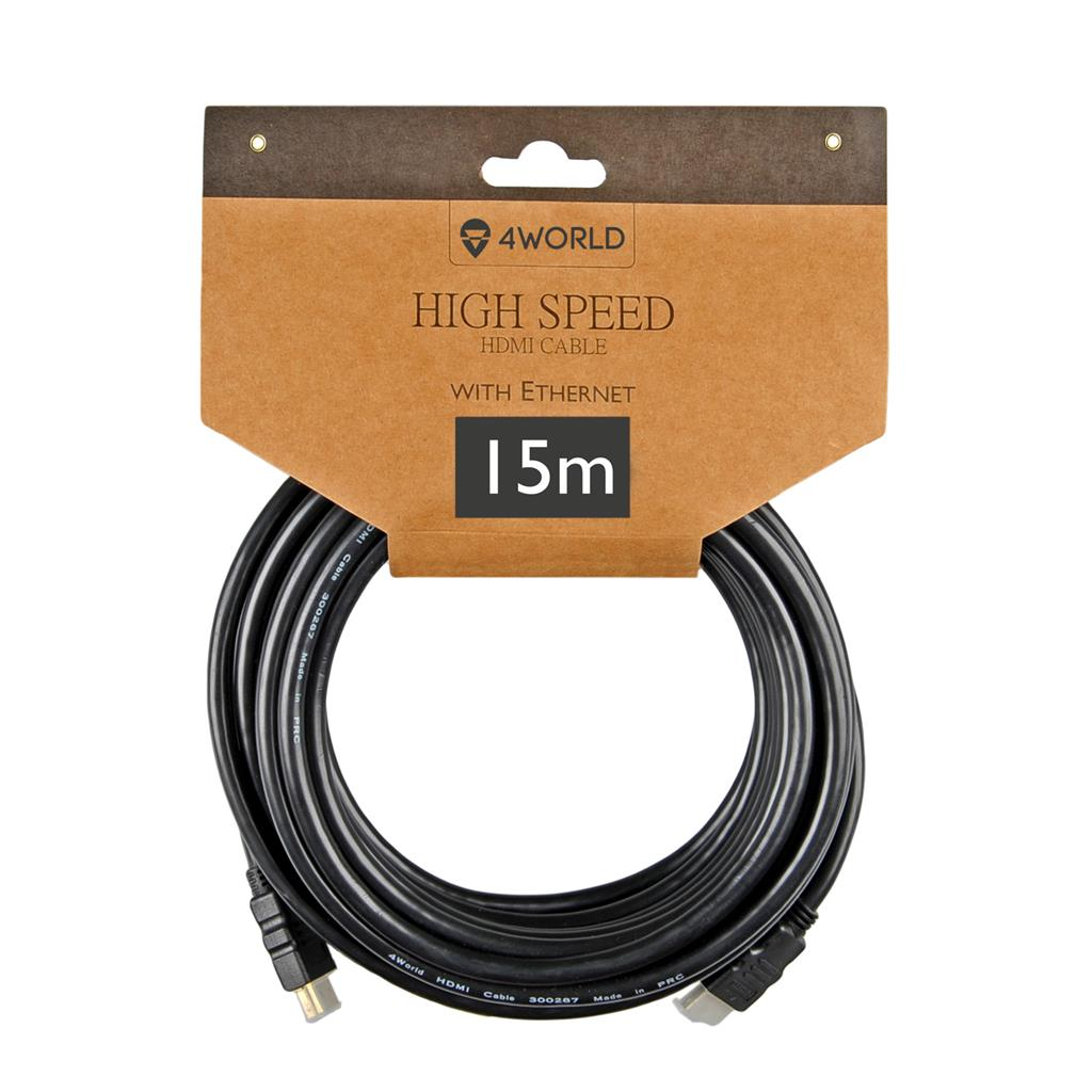4World HDMI - HDMI cable High Speed with Ethernet (v1.4), 3D, HQ, BLK, 15m kabelis, vads