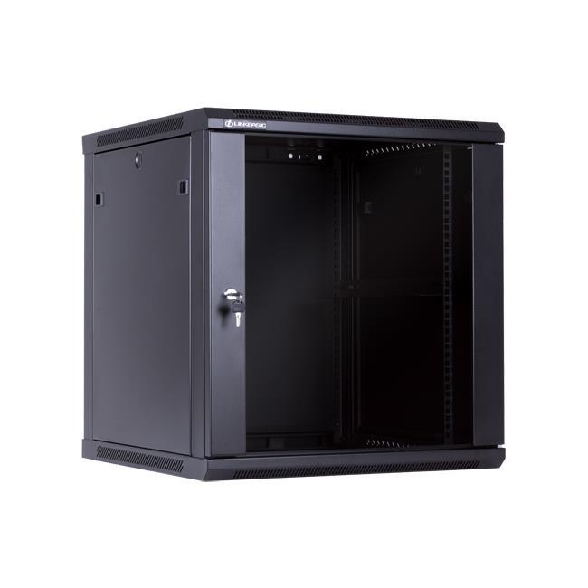 Linkbasic rack wall-mounting cabinet 19'' 12U 600x600mm black (glass front door) Serveru aksesuāri
