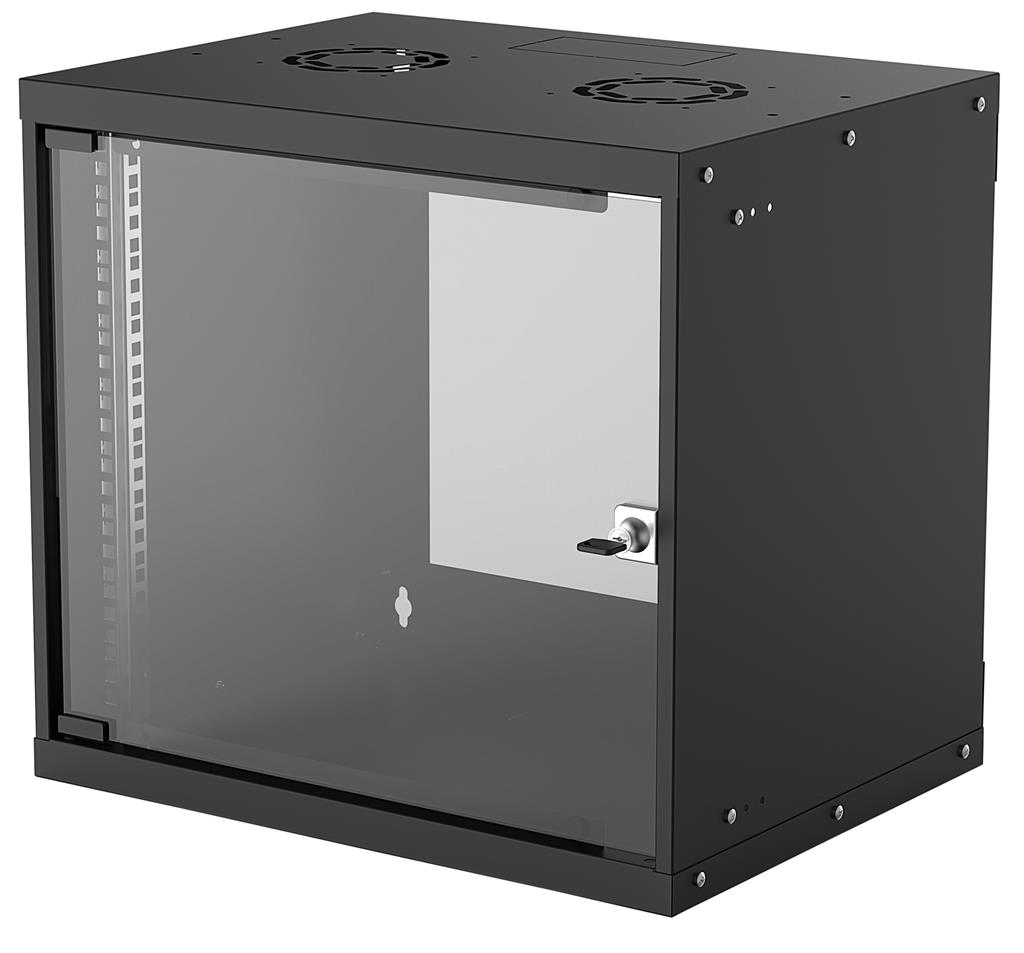Intellinet Wallmount Cabinet 9U 540/400mm Rack 19'' glass door, flat pack, black