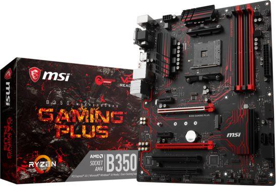 MSI B350 GAMING PLUS, AM4, 4xDDR4, 4xSATA3, 8xUSB3.1 pamatplate, mātesplate