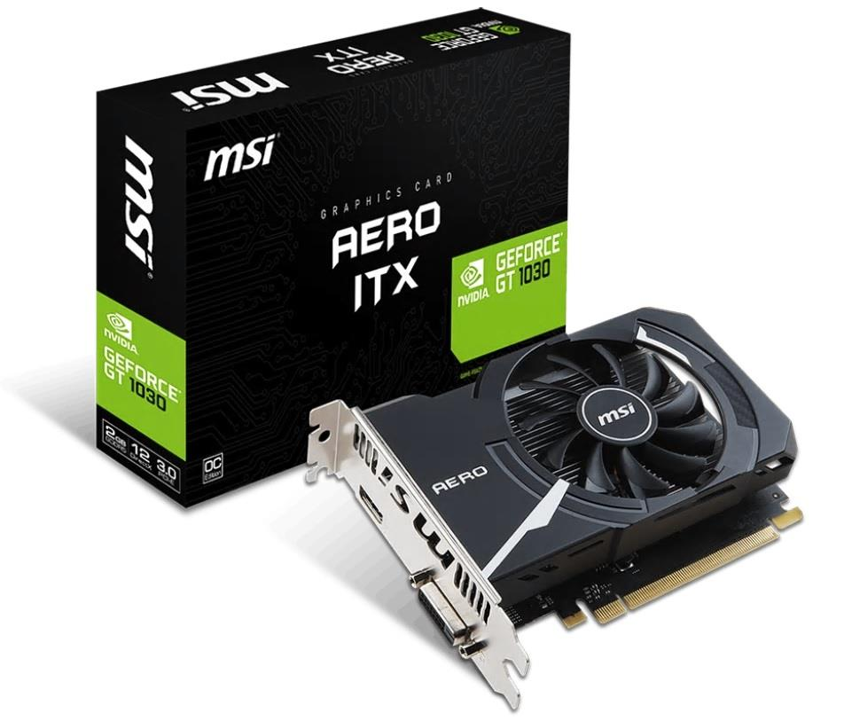 MSI GeForce GT 1030 AERO ITX 2G OC, 2GB, OC/SL-DVI-D/HDMI/ATX/FAN video karte
