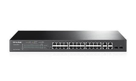 TP-Link T1500-28PCT PoE+24 port 10/100, 4-Port Gigabit Smart Switch (TL-SL2428P) komutators