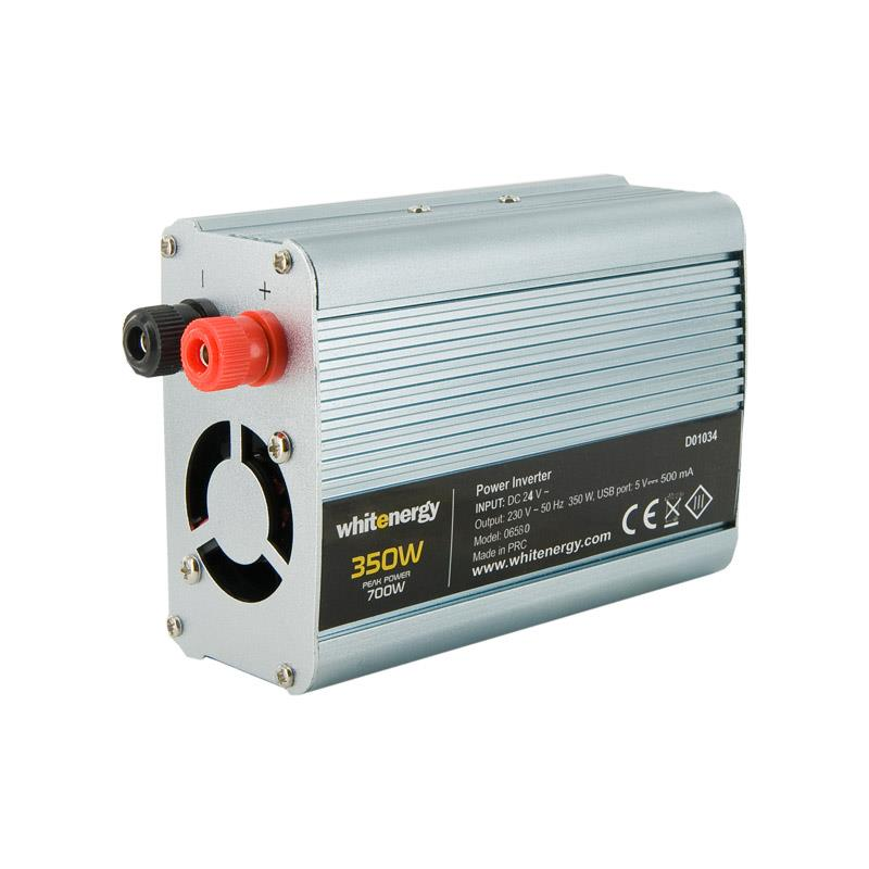 Whitenergy Power Inverter DC/AC from 24V DC to 230V AC 350W, USB Strāvas pārveidotājs, Power Inverter