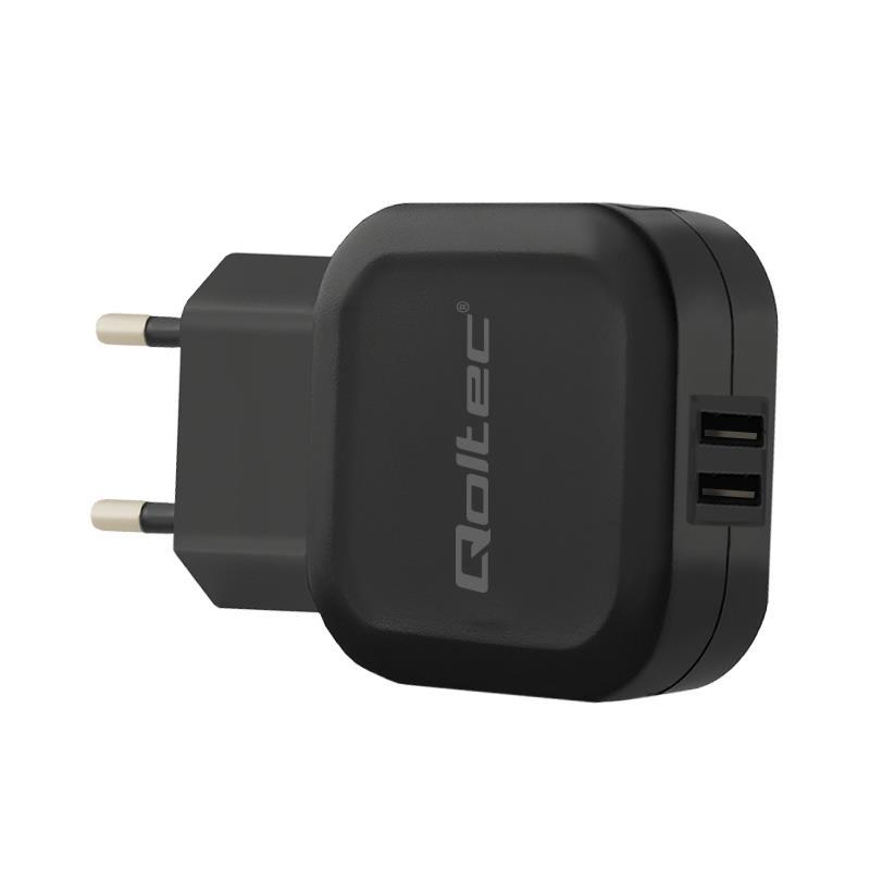 Qoltec AC adapter for Smartphone / Tablet | 12W | 5V | 2.4A | 2xUSB iekārtas lādētājs