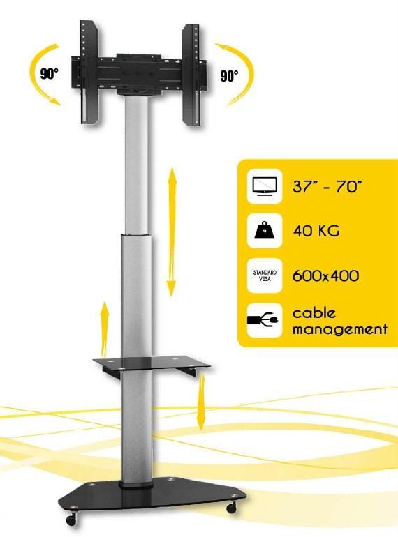 Techly Mobile stand for TV LCD/LED/Plasma 37''-70'' VESA, pivot, adjustable TV aksesuāri