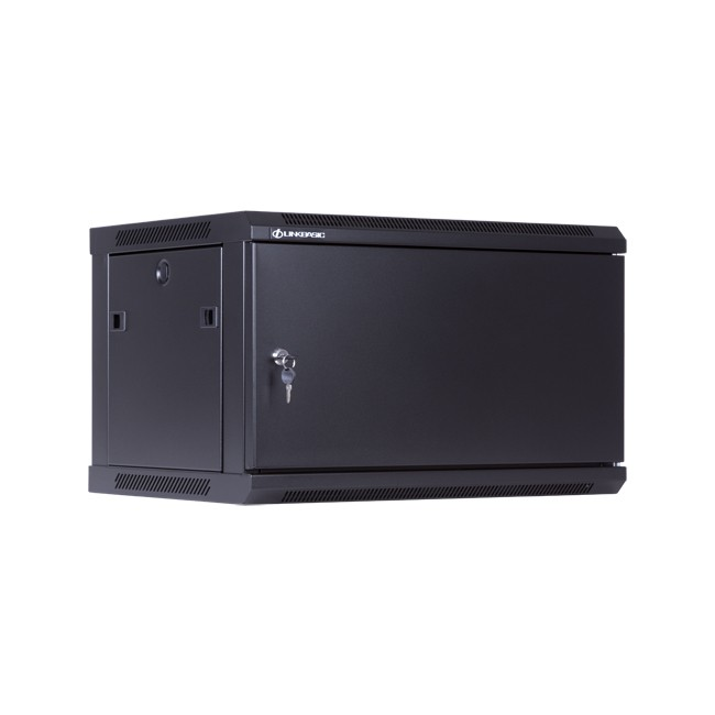 Linkbasic rack wall-mounting cabinet 19'' 6U 600x450mm black (steel front door) datortīklu aksesuārs