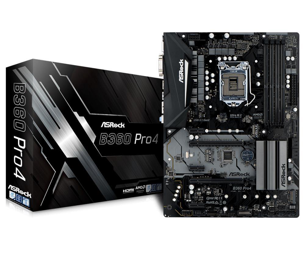 Asrock B360 PRO4 ( LGA 1151 ; 4 DDR4 DIMM ; Micro ATX ; CrossFire ) pamatplate, mātesplate