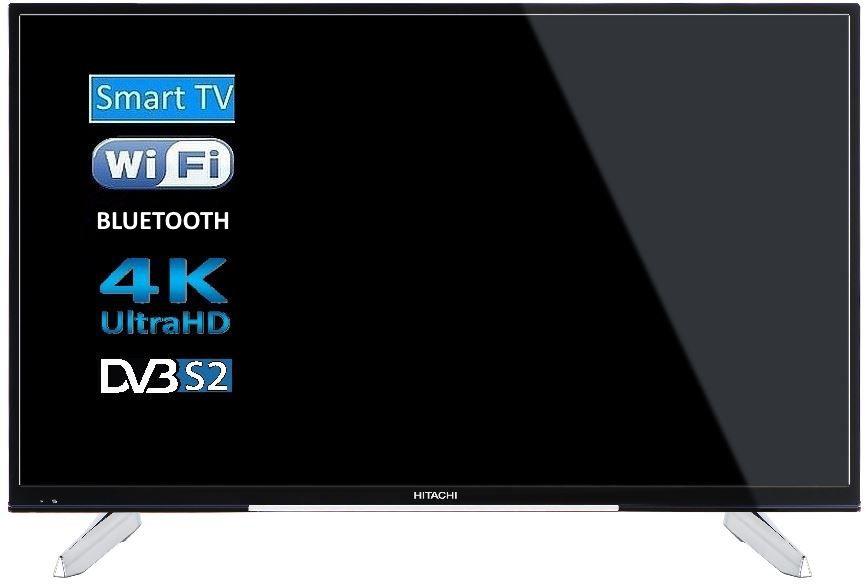 """Hitachi 49HK6W64 49"""" (123 cm), Smart TV, UHD 4K LED, 3840 x 2160 pixels, Wi-Fi, DVB-T2/C/S/S2, Black LED Televizors"""