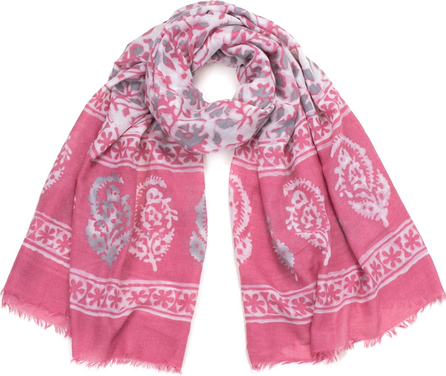 Art of Polo Women's shawl Vegetable watercolor pink sz17236-1