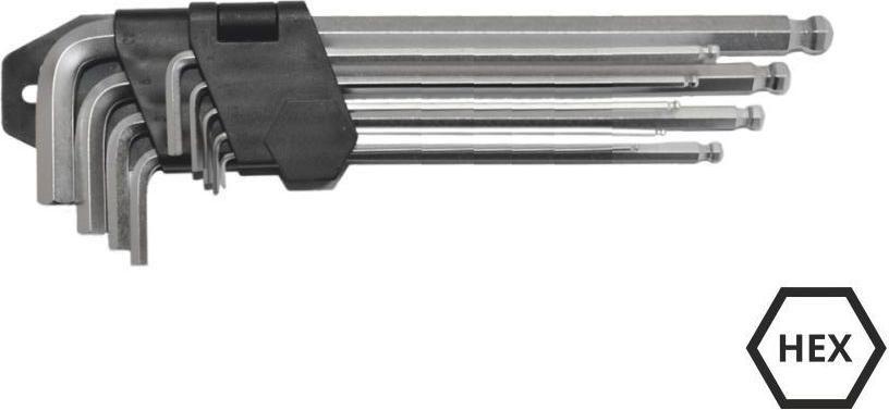 AWTools Zestaw kluczy imbusowych hex typ L 1,5-10mm z kulka 9szt. (AW40529) AW40529