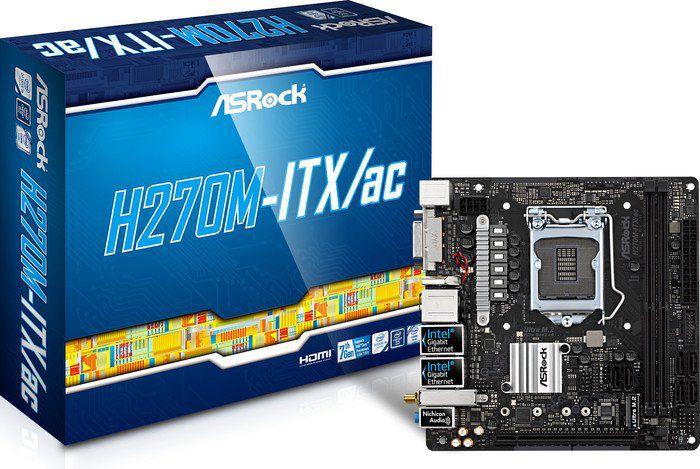 ASRock H270M-ITX/ac, INTEL H270 Series,LGA1151,2 DDR4, 1 x M.2 (top side) pamatplate, mātesplate