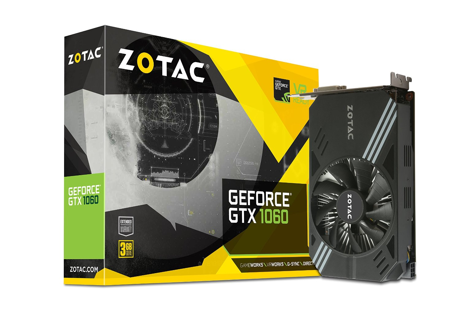 ZOTAC GeForce GTX 1060, 3GB GDDR5 (192 Bit), HDMI, DVI-D, 3xDP video karte