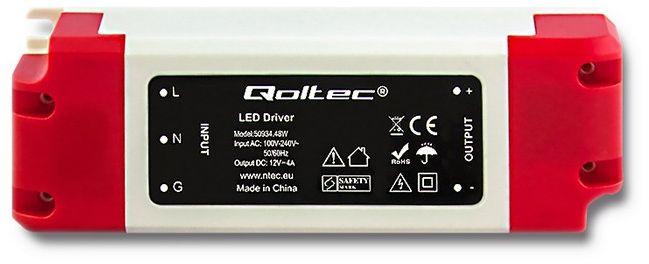 Qoltec Impulse power supply   IP20   100V-240V   48W   12V   4A Barošanas bloks, PSU