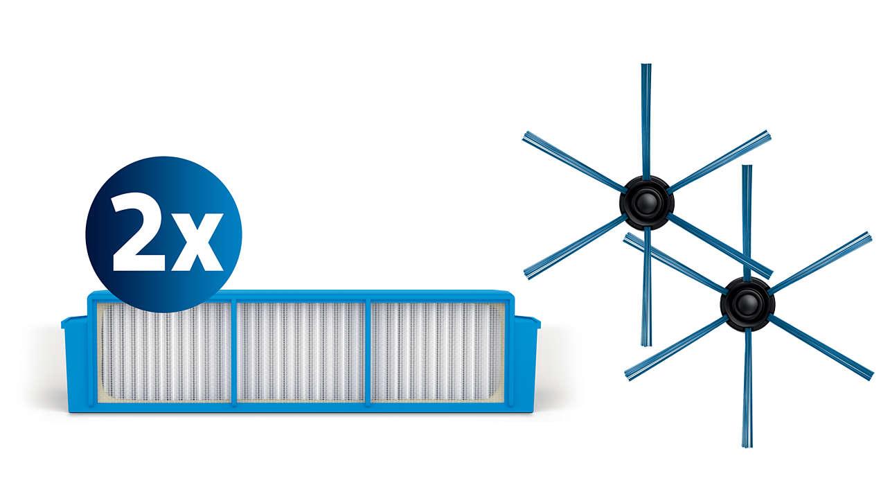 PHILIPS SmartPro Easy Nomaiņas komplekts: 2 filtri un 1 birste, priekš putekļusūcējiem robotiem FC8007/01 aksesuārs putekļsūcējam