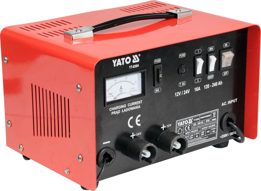 Yato Prostownik 12/24V 16A 240Ah z rozruchem 20A (YT-8304) YT-8304 auto akumulatoru lādētājs