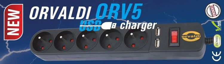 ORVALDI ORV5 5m z USB/1A Power strip 10A UPS aksesuāri