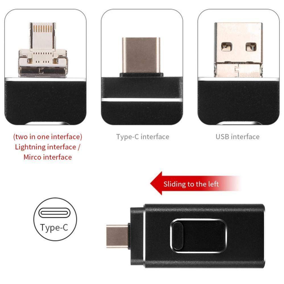 Evelatus USB Flash 4in1 64GB (USB,Micro,Type C and iPhone)  Black USB Flash atmiņa