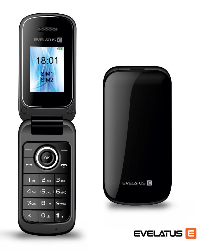 Evelatus FLIP EF01 Dual Sim Black (LV, RUS, ENG) Mobilais Telefons