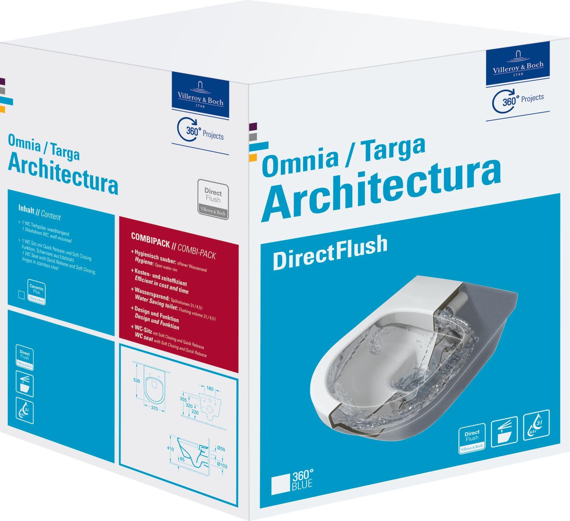 Miska WC Villeroy & Boch Architectura DirectFlush wiszaca CeramicPlus (5684HRR1) 5684HRR1