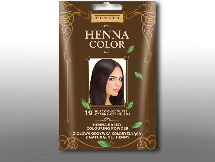 Venita Ziolowa odzywka koloryzujaca Henna Color 30g  19 Czarna czekolada V1078