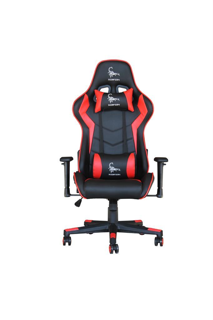 Gembird Gaming chair 'SCORPION', black/red, skin datorkrēsls, spēļukrēsls