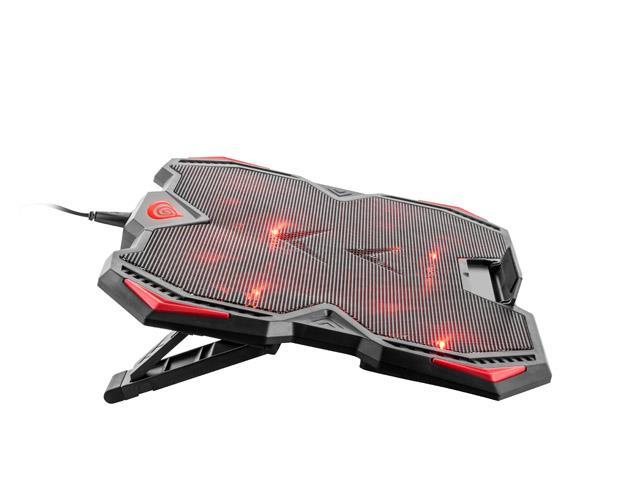 Genesis laptop cooling pad OXID 250 15.6-17.3 4 FANS, LED LIGHT, 2 USB portatīvā datora dzesētājs, paliknis