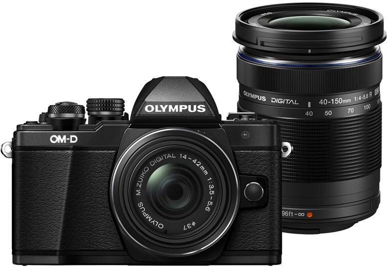 Olympus E-M10 Mark II Korpus Melns + EZ-M1442 IIR Melns +  EZ-M4015 R Melns Digitālā kamera