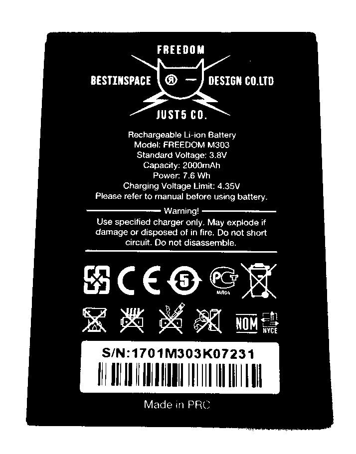 Just 5 Freedom M303 original battery 2000mAh akumulators, baterija mobilajam telefonam