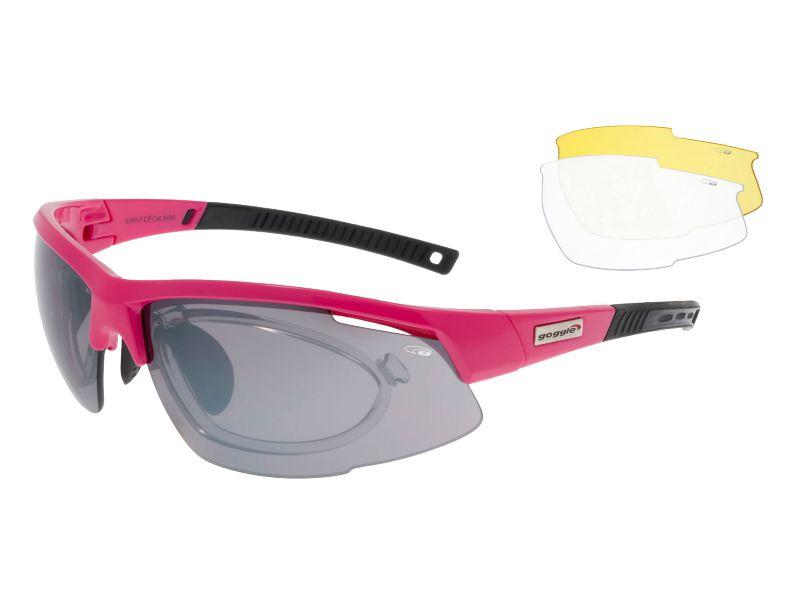 Goggle Okulary sportowe korekcyjne z wymiennymi szybami Falcon Pink (E865-5R) E865-5R