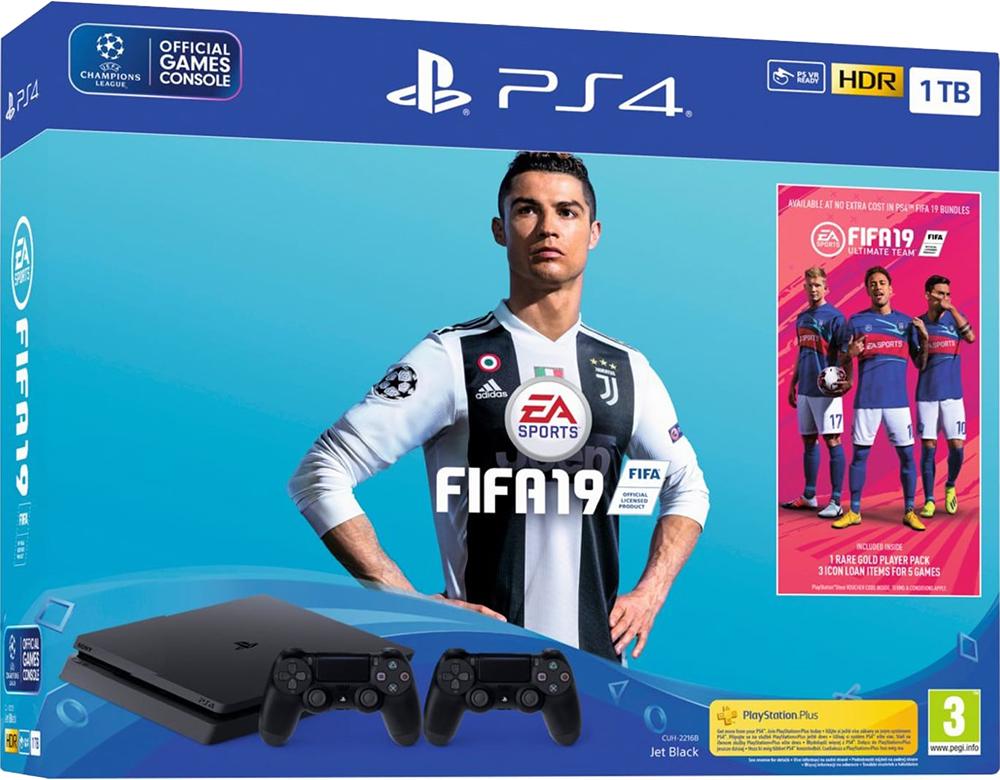 Sony Playstation 4 Slim PS4 1TB + Fifa 19 + 2nd Controller + 14 Days PS Plus spēļu konsole